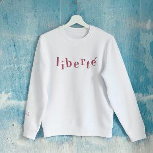 Wit sweatshirt met tekst Liberté