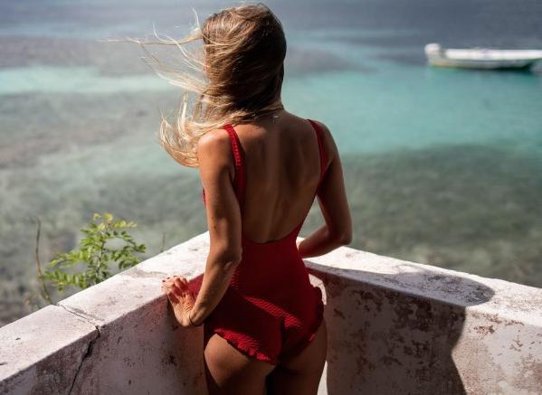 calipige zwemkleding zomer rood badpak